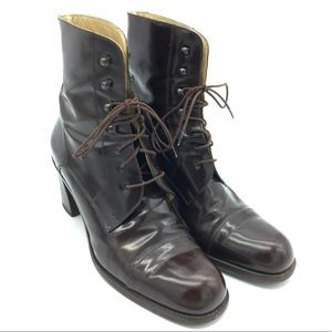 Gucci size 10B brown leather lace up heeled boots